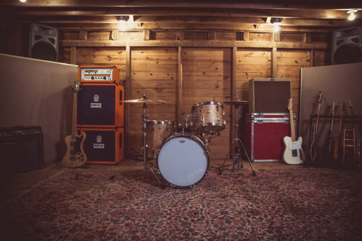 Recording Studio - a drumset in our live recording room